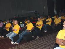 Kerala blasters team watch Aladins Mind eading show